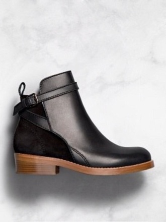 shoes black ankle boots wooden heel