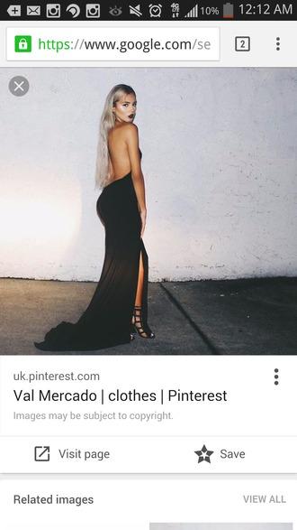 dress val mercado black dress backless dress slit dress