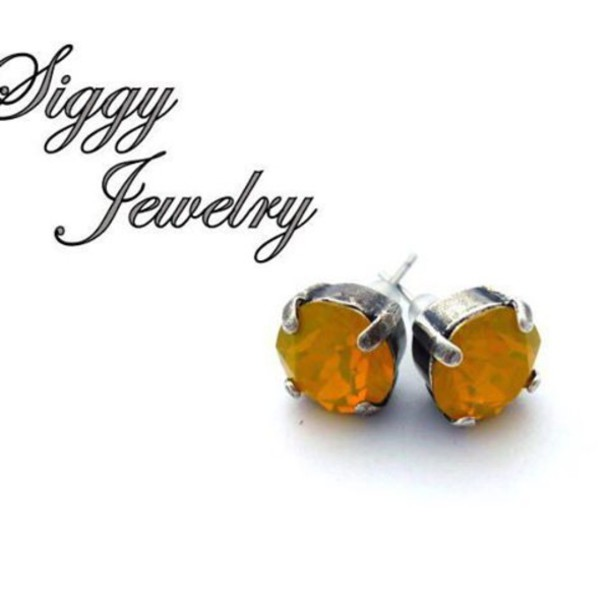 Jewels Siggy Jewelry Post Earrings Stud Yellow Opal Swarovski Gift Ideas Gifts Under