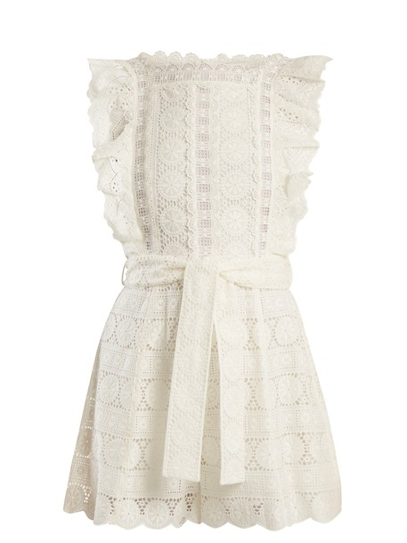 Zimmermann embroidered daisy cotton romper