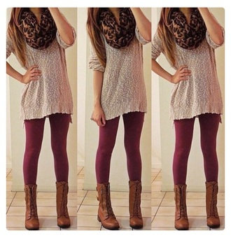 sweater leapord print style scarf leggings maroon/burgundy boots fashion cute love fall outfits