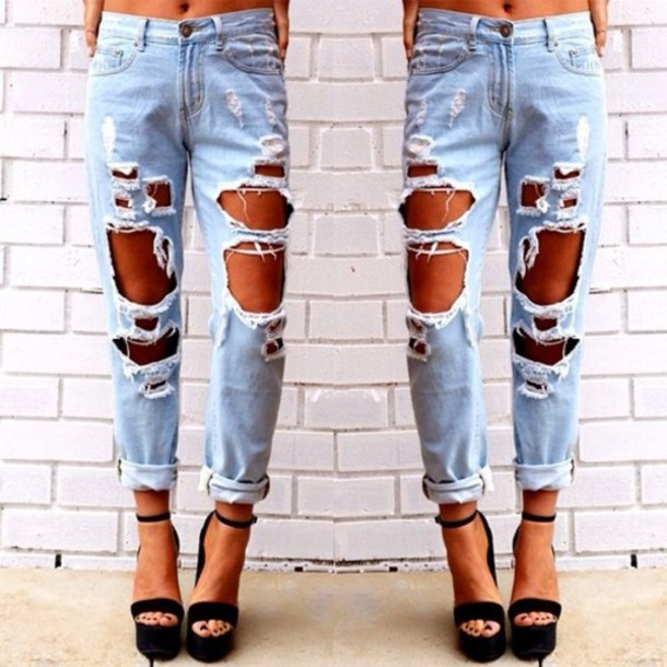 ab34eb2229a jeans boyfriend jeans blue cool denim ripped nice style boyfriend high  waisted light blue jeans ripped