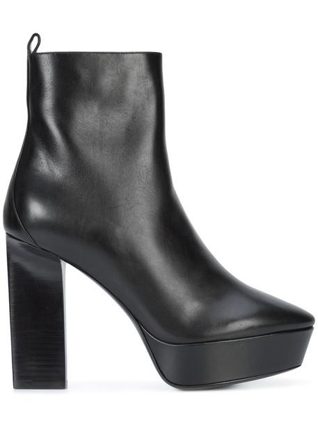 Saint Laurent women ankle boots leather black shoes