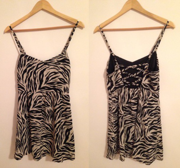 dress zebra print spaghetti strap animal print