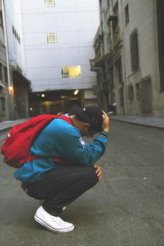 bag red jacket nba blue backpack