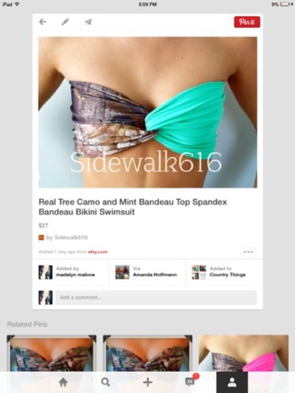 swimwear camouflage bandeau bikini