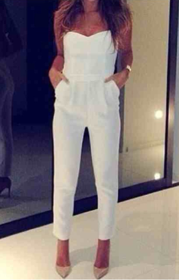 pants top jumpsuit white strapless shoes ebonylace.storenvy jeans romper romper*