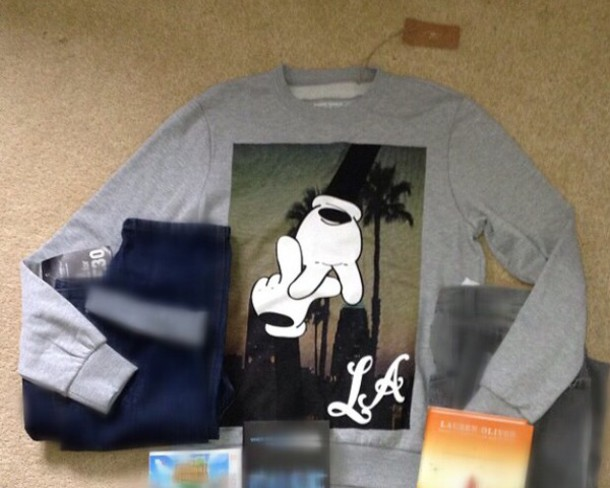 sweater grey mickey mouse sweatshirt t withh hands in a box