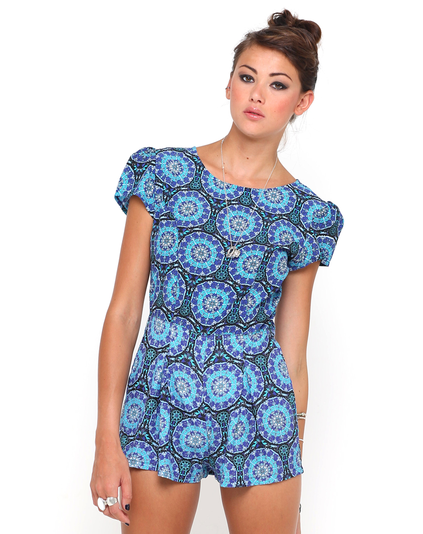 Buy Motel Hoppy Cap Sleeve Playsuit in Mandala Print at Motel Rocks