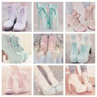 pastel shoes high heels cute high heels platform lace up boots drmartens pink shoes shoes pastel pumps blue mint green pink bow