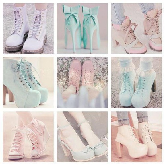 shoes high heels bows pastels boots fun spring pink platform sneakers docmarteens dcmarteens pastel mermaid unicorn cute trendy high heels doc. martens boots DrMartens platform shoes flatform