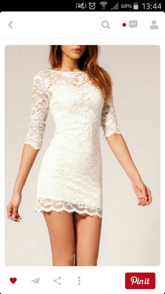 dress white lace short prom homecoming backless sleeves beautiful elegant black outfit love