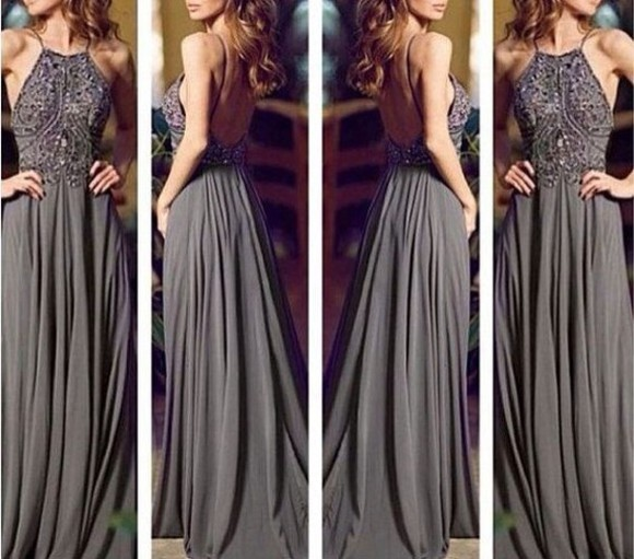 gown dress long dress grey long prom dress