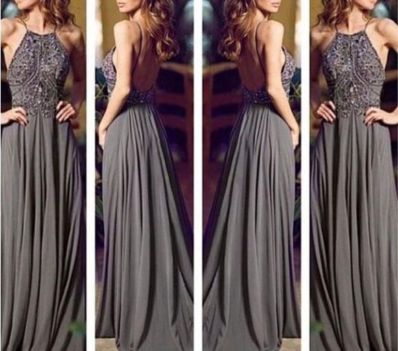 dress long dress long prom dress gown grey