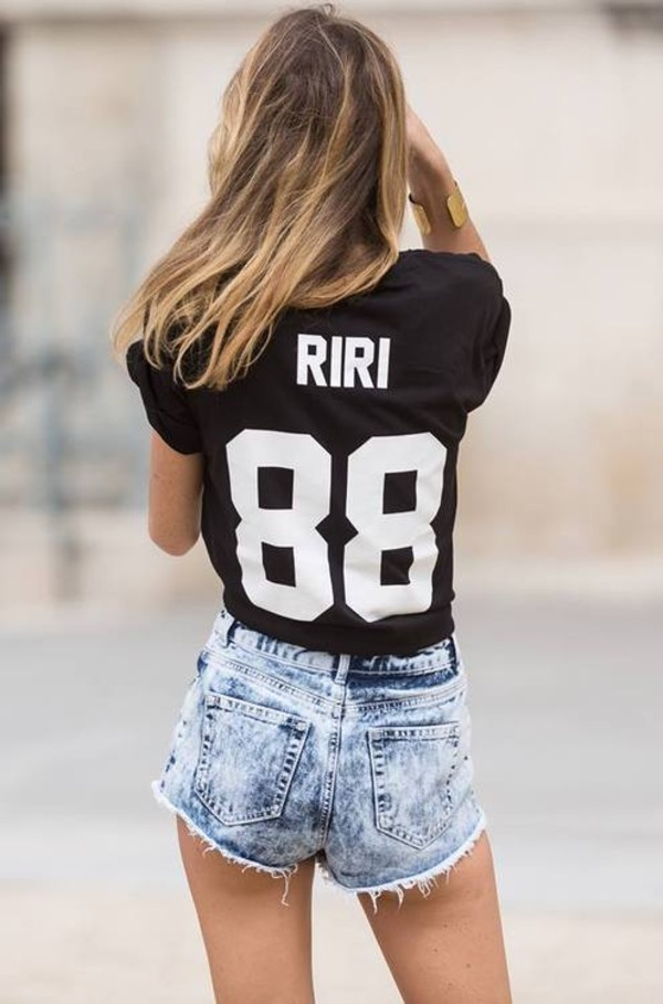 t-shirt rihanna 88 black white unisex shorts