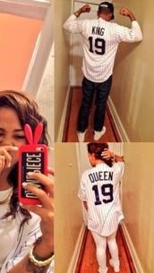 shirt,baseball shirt,stripes,boyfriend,girlfriend