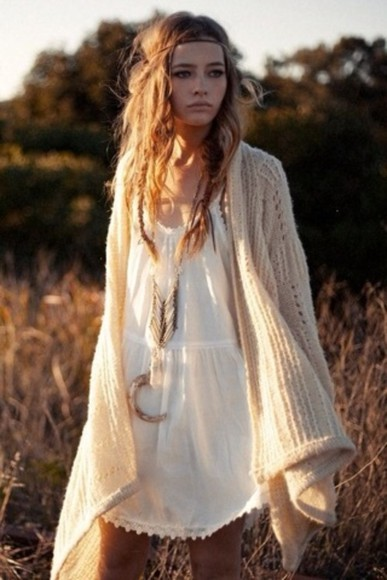 clothes clothing dress boho hippie bohemian white dress cardigan oversized cardigan jewels jewelry hippie boho gypsy pinterest hippie clothing peace sweater