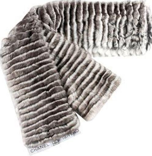Chanel 100 Authentic Chinchilla Rex Fur Scarf Black Gray White   eBay