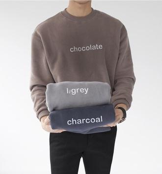sweater crewneck charcoal light grey chocolate mens sweater hipster