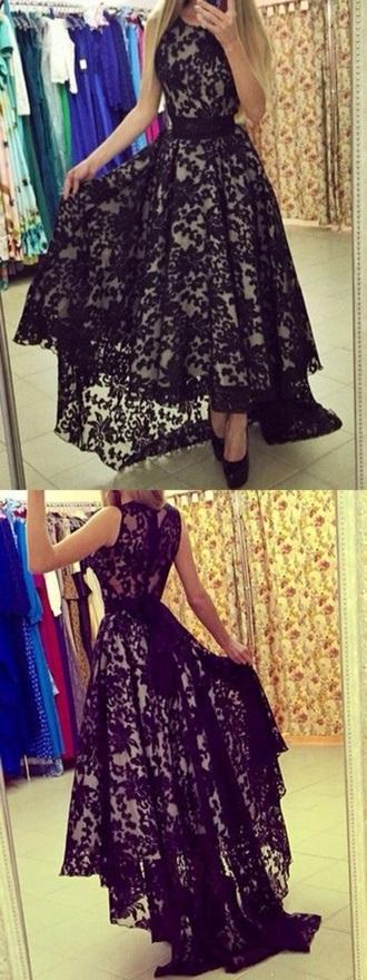 dress lace black long