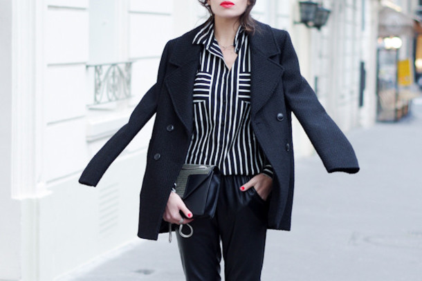 fashion is a playground blogger striped shirt winter jacket pants bag coat