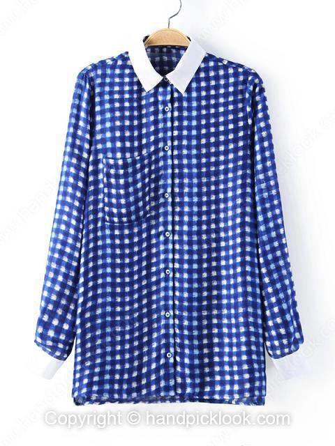 Blue Contrast Lapel Long Sleeve Pockets Chiffon Blouse - HandpickLook.com