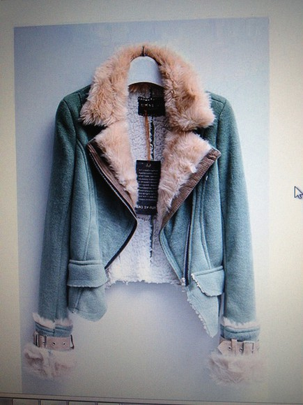 motorcycle jacket jacket cool green fur faux fur pretty warm white brown cute beautiful hot coat