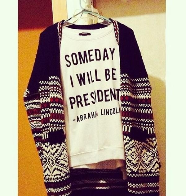 shirt president white abraham lincoln print
