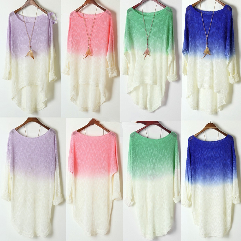 Women Gradient Color Long Sleeve Loose Knitted Sweater Knitwear Cardigans Tops | eBay
