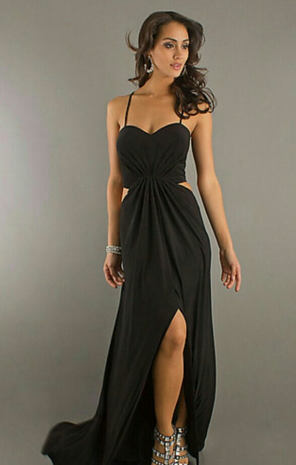 dress black sexy prom dress cut-out