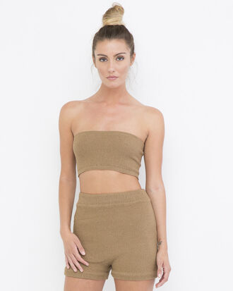 shorts tube top tan outfit tan shorts tan tube top knit shorts knit knit tube top