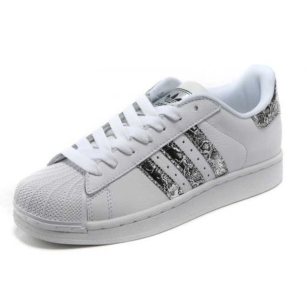 wholesale dealer 92511 e3895 shoes sneakers white white sneakers silver adidas adidas shoes adidas  adidas superstars basket fashion perfect snake