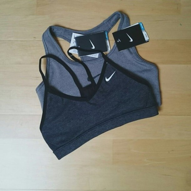 shirt nike sports bra top black nike charcoal black trim underwear sports bra