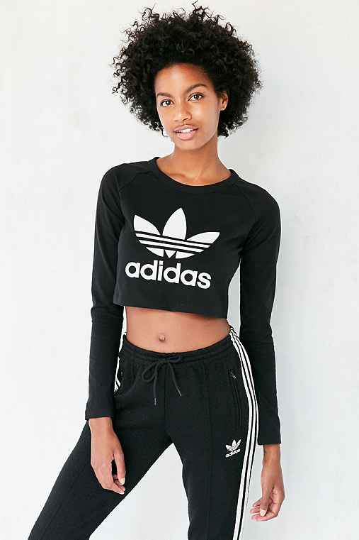 1916c4dedebb4 adidas Originals Long-Sleeve Cropped Trefoil Tee - Urban Outfitters