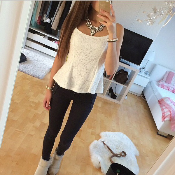 top white lookbook tank top white tank top necklace white necklace white jewels white jewelry black black leggings leggings ugg boots ugg boots shoes boots creme beige cute cute outfits girly cozy jewels shirt peplum tights white blouse