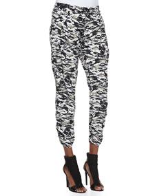 Devlin Camo-Print Silk Pants