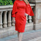 Boutique dress - sleeved red cocktail dress