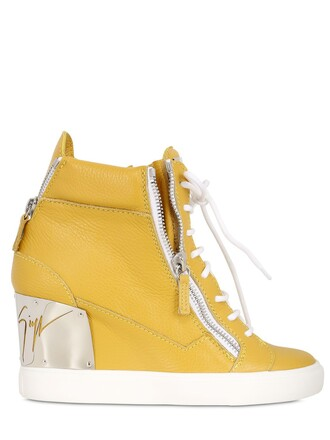 sneakers leather wedge sneakers yellow shoes