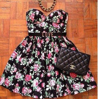 dress love hipster floral flowers chain sexy cute chanel bag