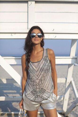 shorts silver shorts top silver top mesh top sunglasses aviator sunglasses summer outfits metallic shorts