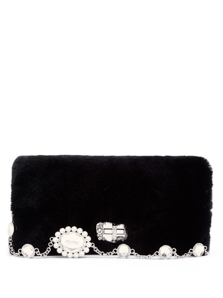 Miu Miu fur embellished bag shoulder bag black