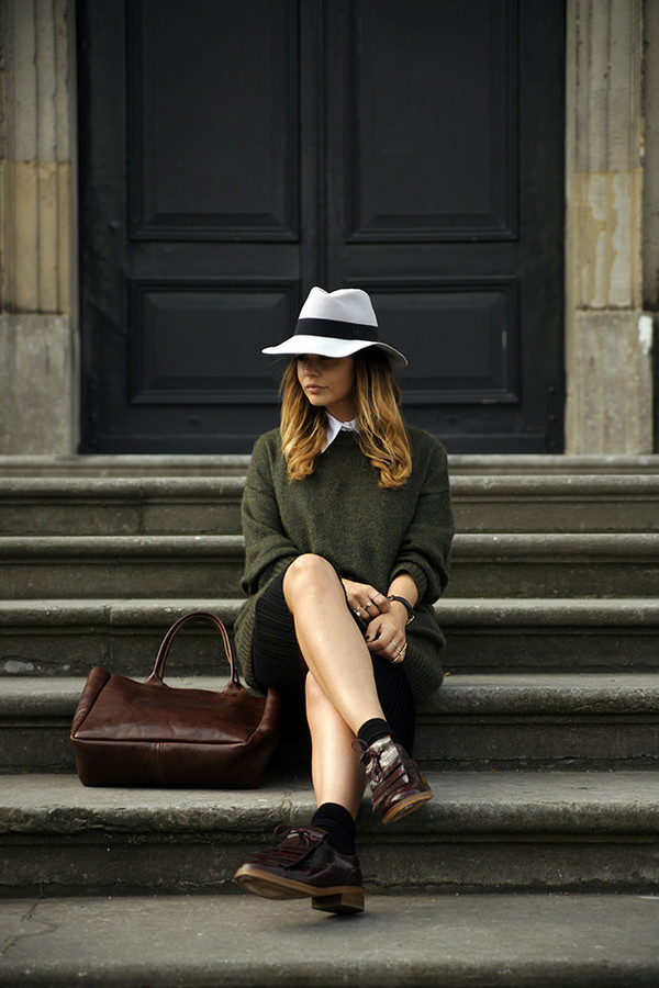 fashion zen blogger daniel wellington leather tote bag fedora olive green fall colors fall outfits