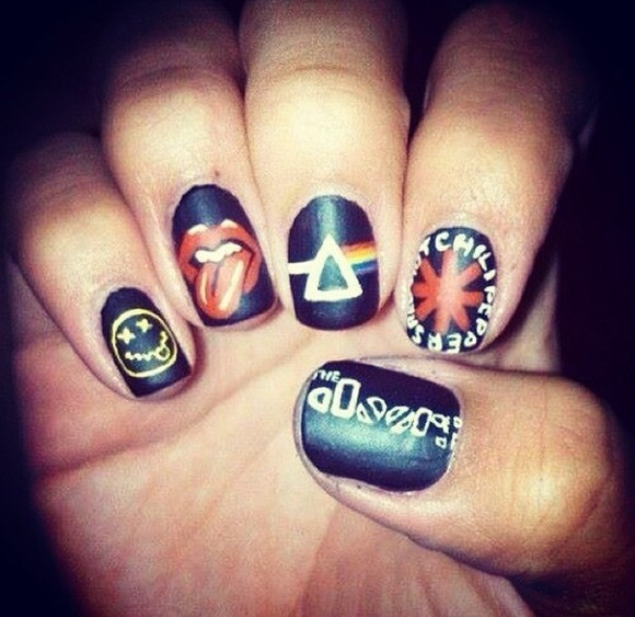 nirvana nail polish nails art nails stickers nails sticker nails goth hipster punk rock kurt cobain