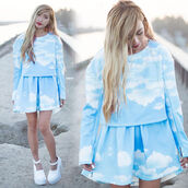 dress,clouds,blouse,skirt,sky,blue,Choies