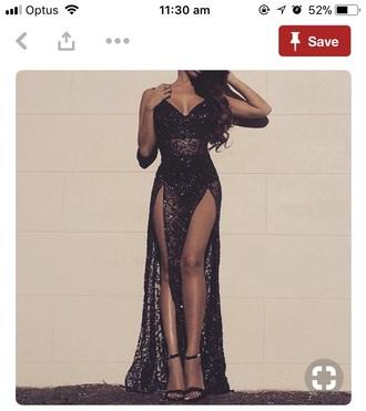 dress black sparkle black sequin lace pretty gown formal prom dress