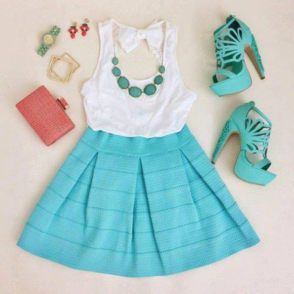 turquoise shoes high heels lace dress purse watch earrings blouse jewels skirt shirt tank top blue dress white clothes t-shirt jewels tourquoise dress green dress turquoise short dress green high heels turquoise shoes white top green bottom earrings bow bandeau back bows