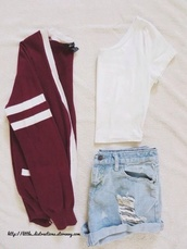 cardigan,clothes,red cardigan,jacket,shorts,cartigan,white crop tops,burgundy,boyfriend cardigan,varsity,cute,style,back to school,cool,shirt,bergundy,jersey,varsity jacket,burgundy sweater,cute outfits,sweater,white shirt,ripped shorts,hipster