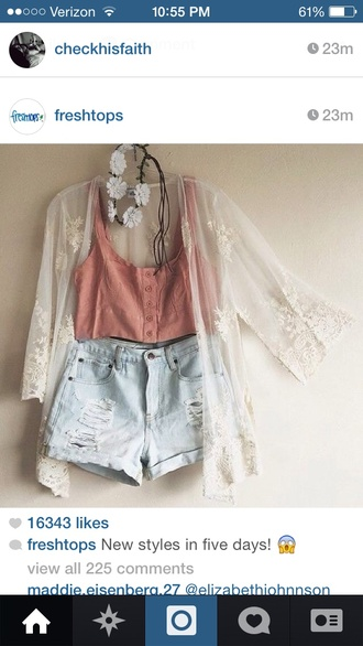 blouse hipster pink white lace cover up shorts high waisted denim shorts denim shorts pink crop top crop tops button up summer outfits shirt cardigan top salmon crop top cream