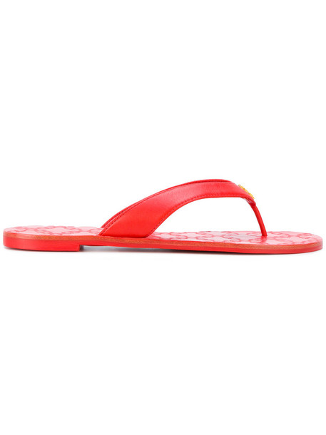 Tory Burch women sandals leather red shoes