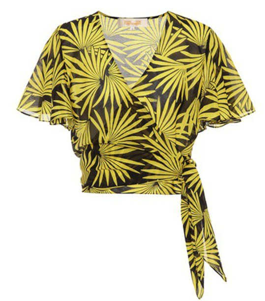 Diane Von Furstenberg top cotton silk yellow